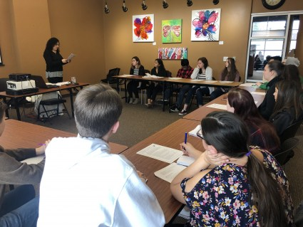 Victim Assistance Specialist Estela Guillen Speaks to Students at the Beaverton Chamber of Commerce